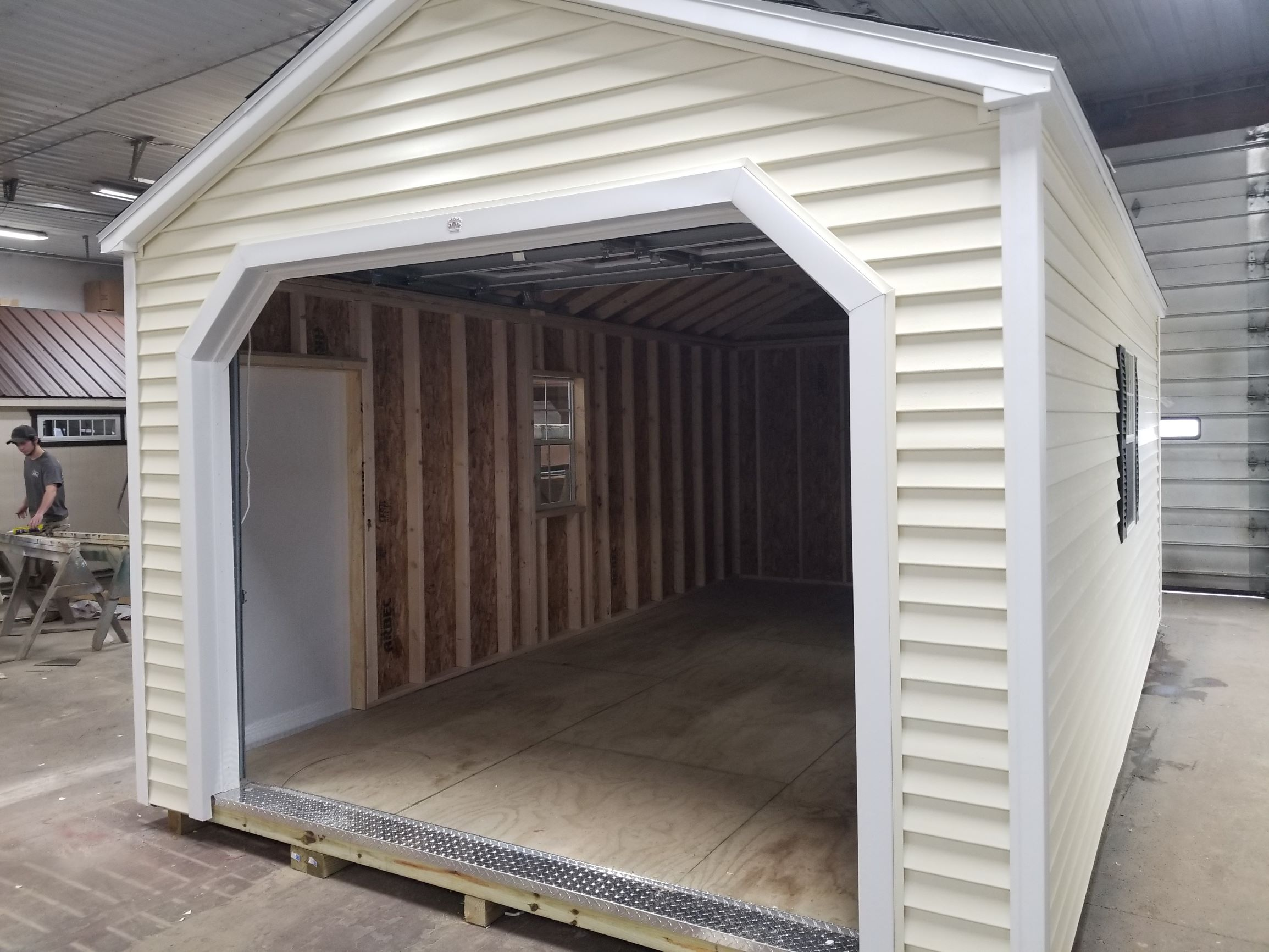 12x20 Vinyl Cottage Shed with Overh 1