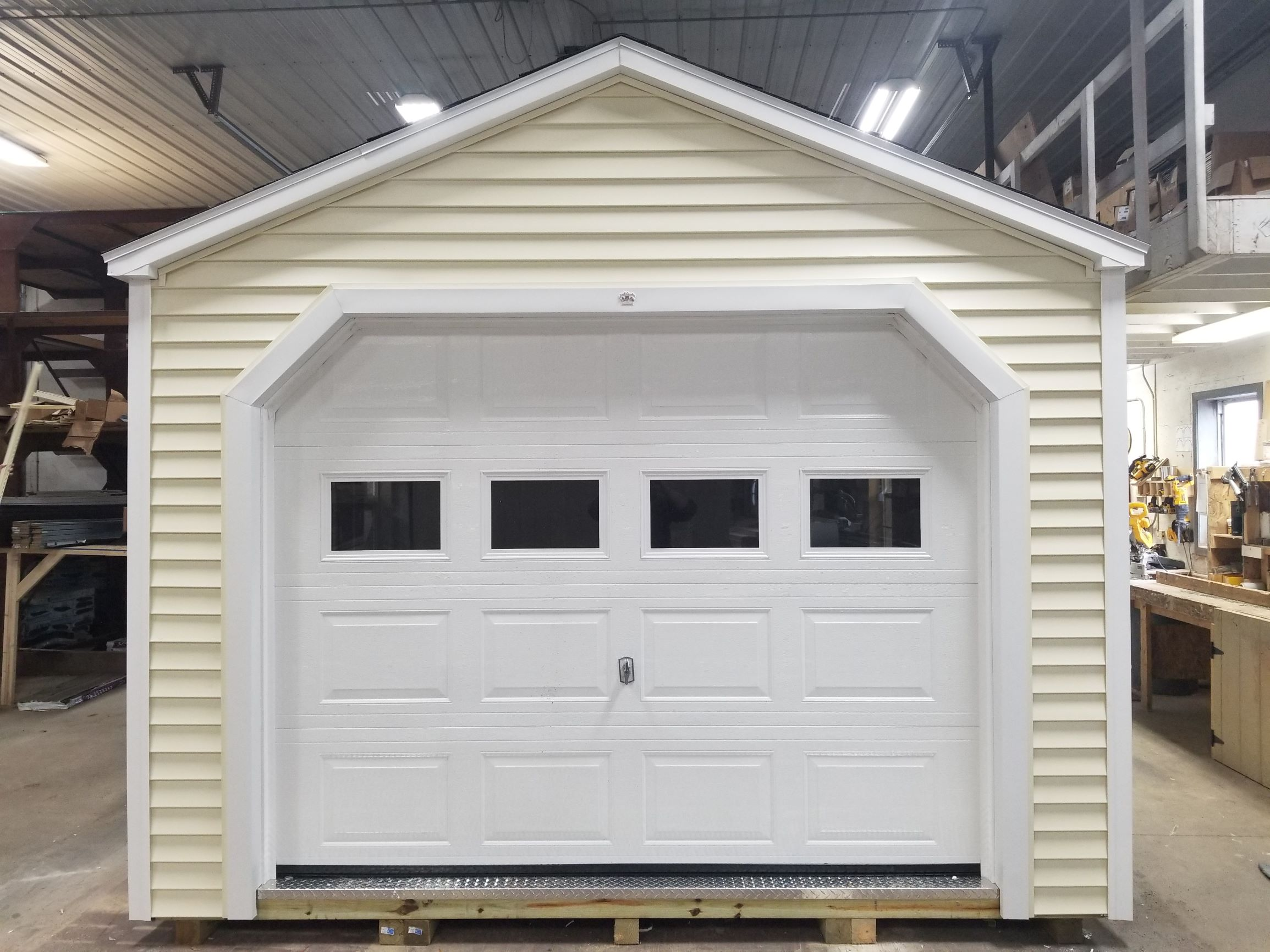12x20 Vinyl Cottage Shed with Overh 2